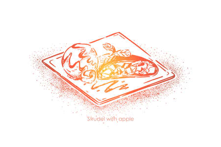 Traditional austrian dish, strudel with apple, tasty baking with fruit filling, bakery, restaurant menu. Delicious german dessert, homemade pastry concept sketch. Hand drawn vector illustration