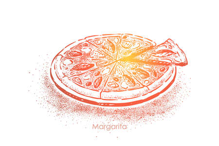 Pizza margarita, delicious meal with tomatoes, mozzarella cheese, salt and olive oil, delicious snack. Traditional italian lunch, fast food concept sketch. Hand drawn vector illustration