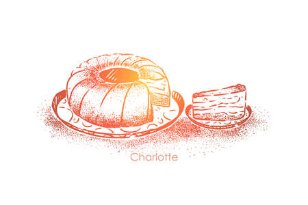 Charlotte, sweet dessert with apples baked in dough, round tasty pie, confectionery product, cafeteria food. Delicious baking, homemade pastry concept sketch. Hand drawn vector illustration