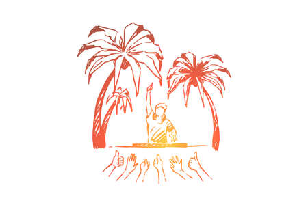 Having beach party, dj making live music, people giving thumbs up, open-air concert performance, vacation fun with friends. Summertime activity concept sketch. Hand drawn vector illustration