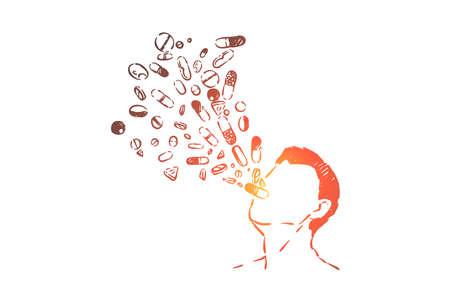 Overdose di farmaci, pericolo dell'industria farmaceutica, farmaci e metafora della tossicodipendenza. Uomo che ingoia pillole, crisi degli oppioidi, schizzo del concetto di suicidio. Illustrazione vettoriale disegnata a mano