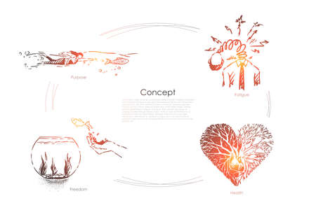 Purpose, woman swimming with fish, overworked man, freedom illusion, half healthy heart, metaphors banner. Surreal conceptions and abstract ideas concept sketch. Hand drawn vector illustration Ilustrace