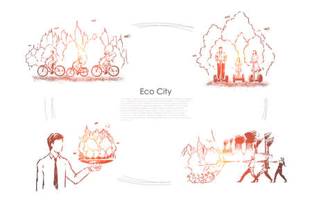 People cycling, using hoverboards, man holding self sustainable town model, alternative power, eco city banner. Environment, ecology friendly technology concept sketch. Hand drawn vector illustration