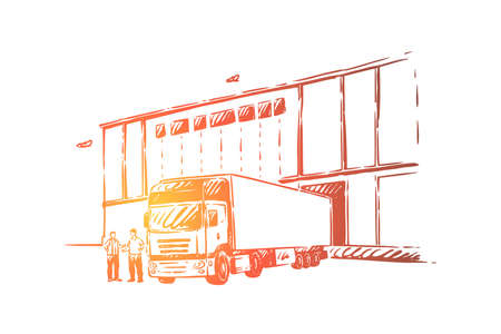 Truck delivering cargo, unloading goods into warehouse,logistics and distribution, wholesale supplier . Delivery and shipping service concept sketch. Hand drawn vector illustration