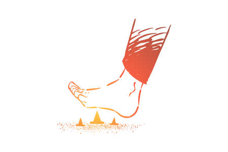 Stepping on metal pins barefoot, foot stepping on spiky pin and tack on the floor. Threat of painful injury and wound, danger of unforeseen problem concept sketch. Hand drawn vector illustration Ilustrace