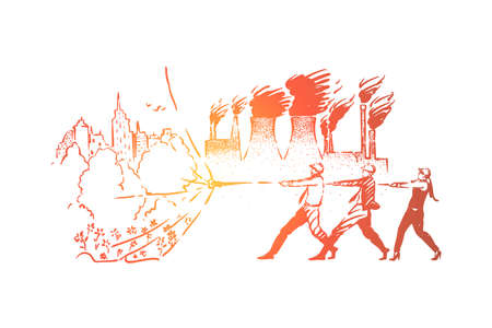 Nature vs industry metaphor, ecology activists saving green city area. Air pollution from plants, factories, industrial production, threat to environment concept sketch. Hand drawn vector illustration