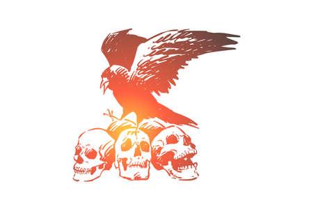 Raven on human skulls, halloween gothic spooky composition, death and destruction metaphor. Crow bird on skeleton, bones, evil and horror concept sketch. Hand drawn vector illustration