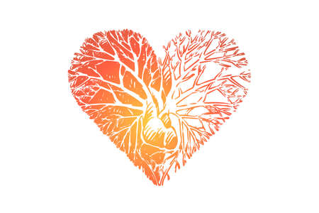 Love growing from heart metaphor, kindness branches, tree rooted in heart. Positive thinking, care, charity, volunteering, charitable foundation concept sketch. Hand drawn vector illustration