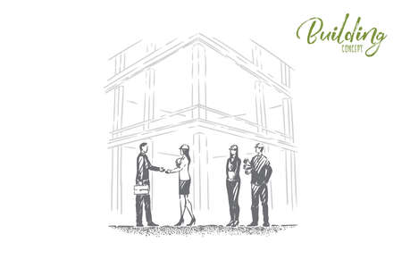Safety check comisison, successful examination, foreman, architect and inspector in hard hats shake hands. Building business, construction inspection concept sketch. Hand drawn vector illustration