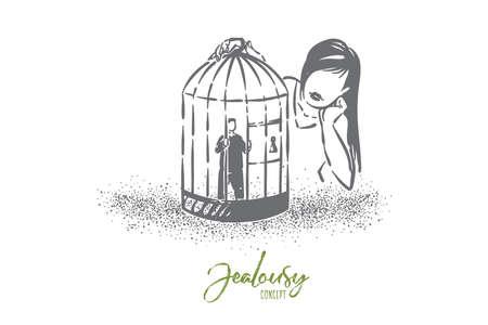 Metáfora de la jaula del amor, chica mirando al novio pequeño personaje encarcelado en una jaula
