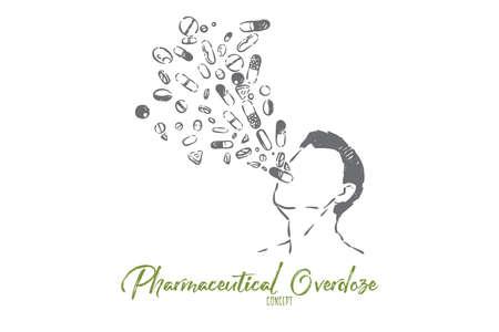 Überdosierung von Medikamenten, Gefahr der Pharmaindustrie, Metapher für Medikamente und Drogensucht addiction