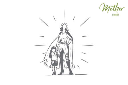 Best mother and daughter holding hands, female superhero in costume with cape, little girl with parent, motherhood