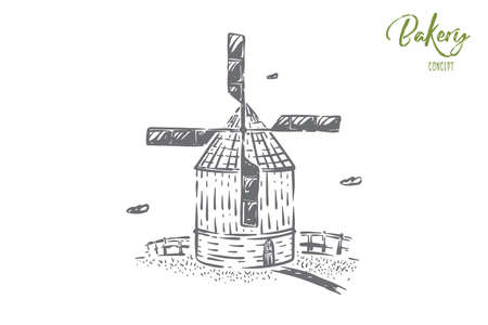 Windmill, countryside architecture, cereal grains mill, rural lifestyle, summer harvest, bakery symbol. Flour products, natural bread making concept sketch. Hand drawn vector illustration Ilustrace