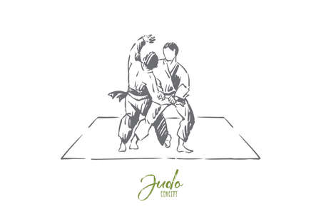 Karate or judo sparring, traditional oriental martial arts, young fighters in kimono practicing footboard. Japanese single combat, self defence training concept sketch. Hand drawn vector illustration Illustration