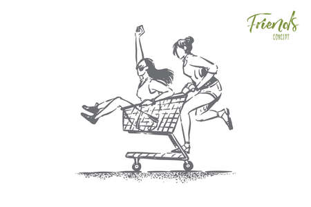 Young carefree girlfriends having fun, happy friends in summer clothes ride in shop cart, trolley, female friendship. Carefree pastime, seasonal shopping concept sketch. Hand drawn vector illustration Illustration