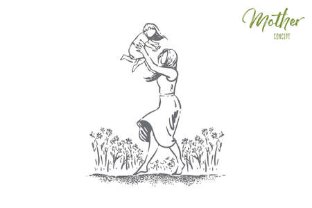 Young woman holding little child, single mom and kid spend time together, feminine happiness, happy parenting. Mother playing with daughter outdoor concept sketch. Hand drawn vector illustration Banque d'images - 124644086
