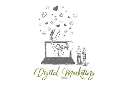 Digital marketing concept sketch. Isolated vector illustration Ilustración de vector