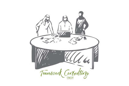 Teamwork consulting concept sketch. Isolated vector illustration