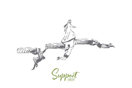 Support concept sketch. Isolated vector illustration
