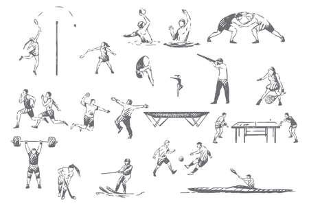 Summer sportive activities concept sketch Vektorové ilustrace