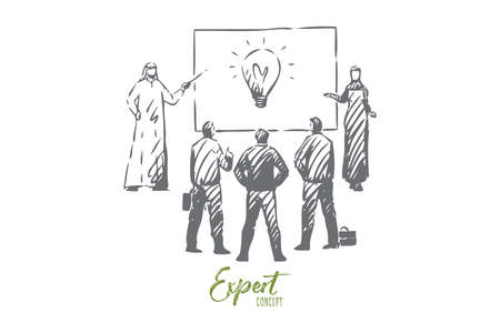Expert concept sketch. Isolated vector illustration Vector Illustration