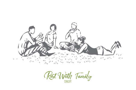Outing with family concept sketch. Isolated vector illustration