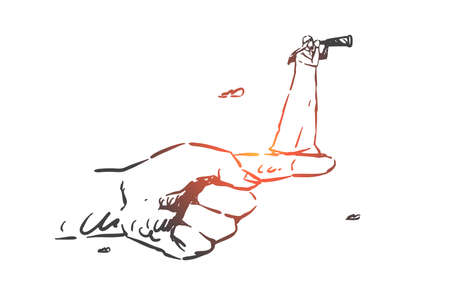 Intuition concept sketch. Arab in hijab standing on forefinger and looking at spyglass ahead. Hand drawn isolated vector illustration Illustration