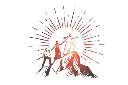 Teamwork, coworking, partnership, leadership, success, globalization concept sketch. Business people european and Arabs climbing up mountain together one by one and holding hands. Hand drawn isolated vector illustration