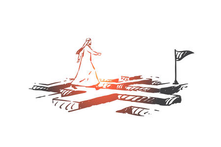 Success, leadership concept sketch. Arab in hijab going through maze to finish with flag. Hand drawn isolated vector illustration