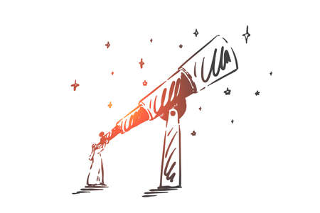 Intuition, leadership, success concept sketch. Arab in hijab standing and looking at sky through telescope. Hand drawn isolated vector illustration
