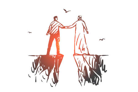 Teamwork, coworking, partnership, success concept sketch. Businessmen European and Arab standing on different rocks with abyss between and holding hands. Hand drawn isolated vector illustration