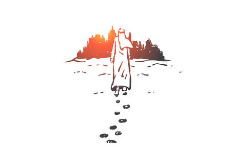 Leadership, success, Arab business people concept sketch. Man from Saudi Arabia in hijab barefoot walking on sand to big city and leaving foodprints. Hand drawn isolated vector illustration
