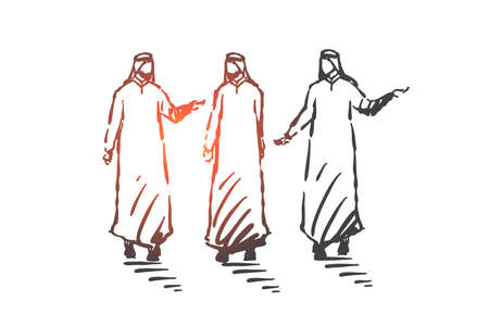 Teamwork, coworking, partnership, success concept sketch. Group of businessmen from Saudi Arabia walking and discussing business issues. Hand drawn isolated vector illustration