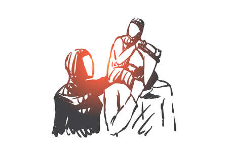 Family, parents and child, generations concept sketch. Muslim family, father holding little son on shoulders. Hand drawn isolated vector illustration