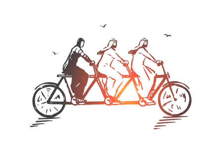 Teamwork, coworking, partnership, success concept sketch. Business people Arabs riding one bicycle together. Hand drawn isolated vector illustration