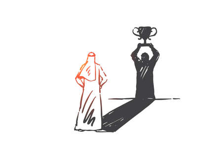 Success, leadership, self-confidence concept sketch. Arab in hijab standing and looking at his shadow as winner with first prize cup. Hand drawn isolated vector illustration Illustration