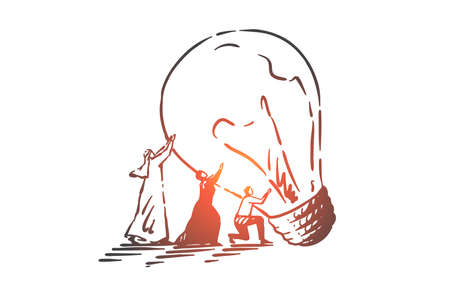 Teamwork, coworking, partnership, success, startup concept sketch. Business people Arabs and Euopeans trying to carry big lamp together. Hand drawn isolated vector illustration