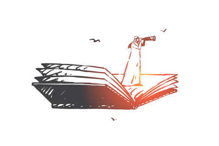 Searching, analysis, hunting, audit, navigation concept sketch. Muslim man standing on book and looking ahead with spyglass. Hand drawn isolated vector illustration