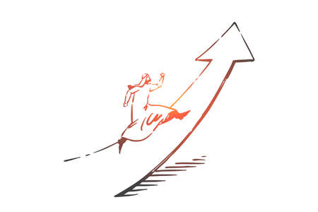 Startup, leadership, growth, first concept sketch. Arab in traditional hijab running up on growth indicator. Hand drawn isolated vector illustration