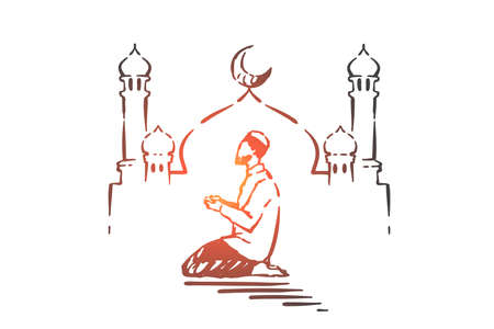 Ramadan religious holiday concept sketch. Muslim sitting and praying, mosque at background. Hand drawn isolated vector illustration Standard-Bild - 127821661
