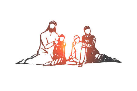 Family, parents and child, generations concept sketch. Parents from Saudi Arabia sitting with their children on floor and relaxing. Hand drawn isolated vector illustration Banque d'images - 127821710