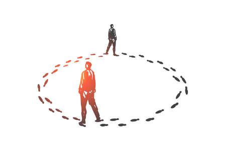 Teufelskreis, Routinekonzeptskizze. Handgezeichneter isolierter Vektor