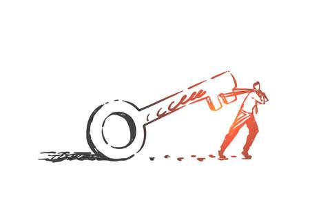 Anstrengung, Entschlossenheit, Kampfkonzeptskizze. Handgezeichneter isolierter Vektor