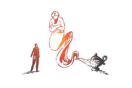 Wunscherfüllung, märchenhafte Konzeptskizze. Geschäftsmann rief Geist mit magischer Lampe, arabische Fabelwesen, traditionelles östliches Märchen, Fantasy-Geschichte. Handgezeichneter isolierter Vektor Vektorgrafik