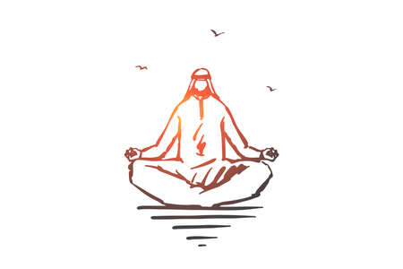 Concentration, yoga, meditation concept sketch. Hand drawn isolated vector 向量圖像