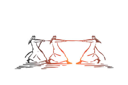 Competition, advantage, inequality concept sketch. Hand drawn isolated vector