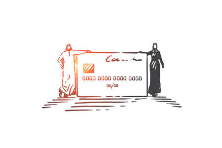 Financial account opening concept sketch. Hand drawn isolated vector Ilustração