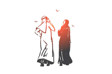 Relationship problem, ignore concept sketch. Hand drawn isolated vector Illustration