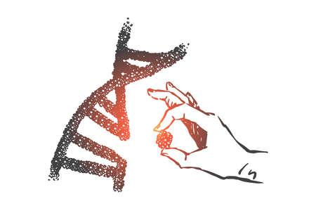 Bosquejo del concepto de ciencia de ingeniería genética. Vector aislado dibujado a mano