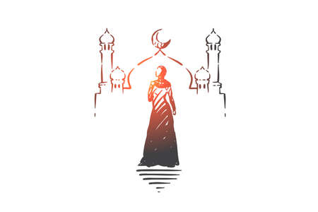 Muslim woman visiting mosque concept sketch. Hand drawn isolated vector